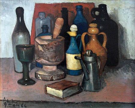 Quadro di Gianfranco Antoni Composizione con bottiglie - olio tela